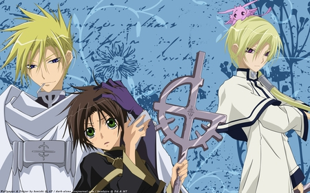 Protected Brat - mikage, hakuren, teito, priest, language, 07 ghost, write, brat, frau, protect, blue