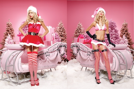 Christmas Babe - sleigh, blond, beautiful, woman, xmas, x-mas, hair, mrs, hot, face, thigh, babe, legs, christmas, high, skirt, blonde, sexy, heels, lips, tree, santa, stockings, girl, hose, lady, eyes