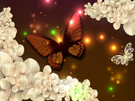Beautiful Butterfly In Light Flowers Nature Background