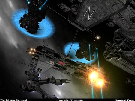 invasion - stars, fire, starships, wormholes, firing, explosion