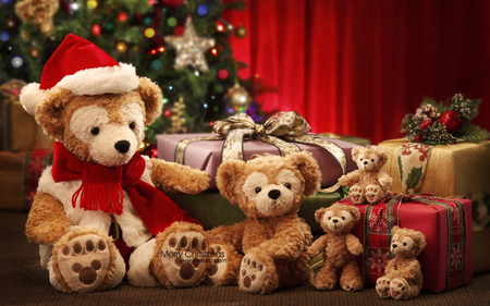♥Teddybear Merry Christmas♥ - gifts, bears, joy, photography, bows, christmas tree, happiness