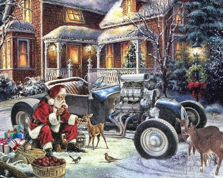 Santa's T Bucket - art, christmas, rod, xmas, santa, antique, hotrod, snow, drawing, car, painting, hot, classic