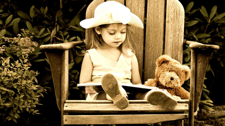 Toy Story - lovely, girl, book, toy, chair, story, teddy bear, hat