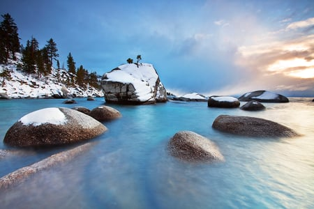 Winter view - rocks, image, sun, view, beautiful, trees, sky, clouds, winter, cold, water, snow, nature, white, landscape
