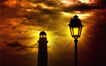The Lighthouse - lanterns, colorful, light, birds, peaceful, shine, stormy, golden sunset, lantern, sun, amazing, bird, power, lamp, lighthouses, sunset, storm, sky, colors, splendor, shimmering, lighthouse, nature, architecture, beauty, beautiful, lovely, rays, clouds, view, powerlight