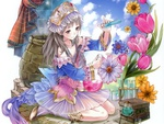Anime girl among flowers and Chemistry