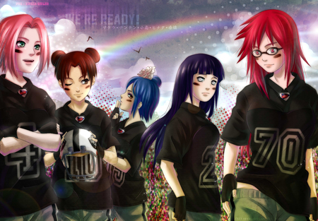 Game On - white eyes, hyuuga hinata, naruto, glasses, anime girls, rainbow, sakura haruno, naruto shippuden, gloves, karin, helmet, hinata hyuuga, anime, girls, haruno sakura, konan, pink eyes, sakura, brown hair, purple hair, red hair, blue hair, uniform, tenten, hinata, females, pink hair