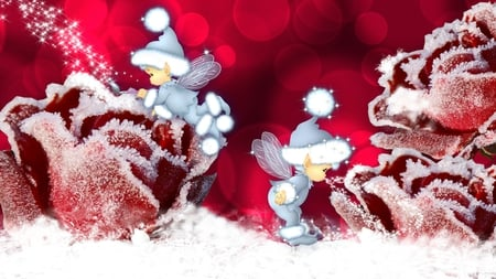 Frosting Roses - red, pixies, christmas, firefox persona, elves, winter, cold, cute, whimsical, snow, fairies, flowers, frost