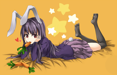 Reisen Undongein Inaba - pretty, zun, anime, touhou, carrot, anime girl, long hair, touhou project, inaba, stars, rabbit, shrine maiden project, scholar, reisen, sexy, cute, purple, bunny, undongein, red eyes