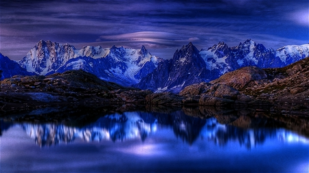Softly Reflected - still, beautiful, calm, mountains, dark, peaceful, reflections, blue, night