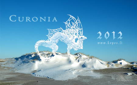 Snow dragon in the frozen dunes - dunes, snow, years, 2012, new, curonian, curonia, dragon