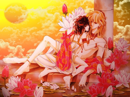 Private Bath - king, red, sun, bath, beautiful, woman, anime, handsome, heaven, hot, anatolia story, amazing, desert, red river, sexy, flower, white, slave