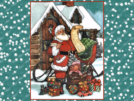 Santa Prepares F2 - sleigh, art, santa, christmas, painting, list, presents, artwork