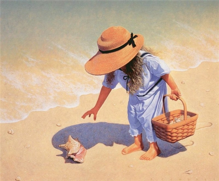 Beautiful Little Sunshine - luiza, shadow, hat, beach, water, basket, little girl, painting, shells