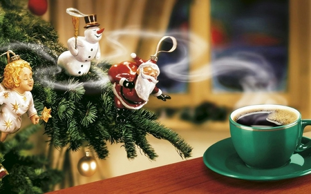 coffee fragrance - christmas tree, window, christmas, angel, christmas ball, fragrance, snowman, santa claus, coffee, coffee cup, smell, cup, funny