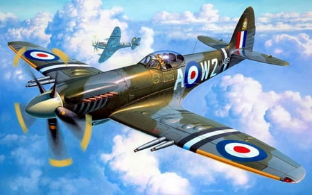 Spitfire Skies - ww2, art, drawing, supermarine, wwii, plane, clouds, spitfire, war, airplane, sky, world, painting