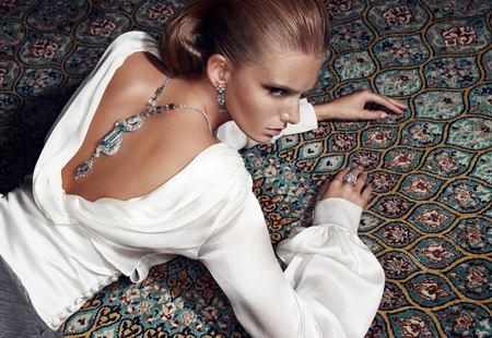 Precious Jewelry - floor, model, precious, white, woman, jewelry