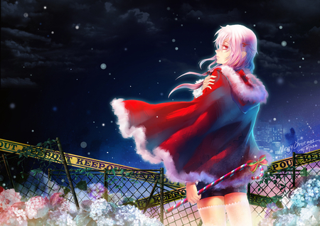 Yuzuriha Inori - candy, guilty crown, rose, thighhighs, sweet, cold, merry, keep out, hot, beauty, mess, anime girl, fance, star, night, female, yuzuriha inori, christmas, smile, sexy, cute, alone, cool, snow, flower, pink hair