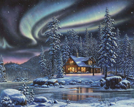NORTHERN LIGHTS CHRISTMAS - NORTHERN LIGHTS CHRISTMAS - Other & Abstract Background Wallpapers