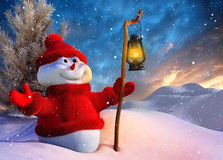 I luv winter - snow, red outfit, snowman, winter, smile, lantern, trees