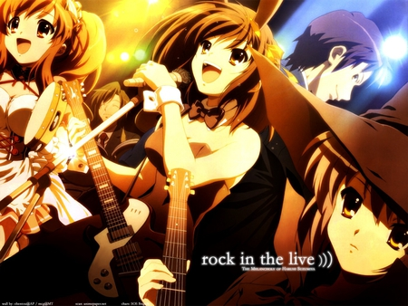 Suzumiya rocks - rock, cosplay, magic, nagato, yuki, anime, drums, best, life, kyon, is, sorcerer, guitar, haruhi, the, mikuru, bunny, asahina, maiden