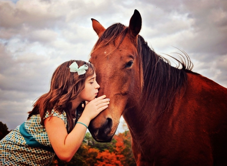 Innocent kiss - dress, sweet moments, magic, clouds, kiss, best friends, hair, tenderness, friendship, love, little girl, touch, happiness, ribbon, beautiful moments, forever friends, sky, horse, brown horse, softness, childhood