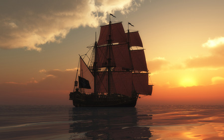 Ship and Sunset  !!! - widescreen, sun, golden, wds, sunset, sea, ship, dark, nature