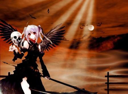 Grim Reaper - skull, grim reaper, scythe, shinigami, death, anime, dark wings