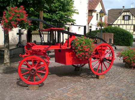 Flowers on Red Carriage - red, flowers, beautiful, carriage, picture