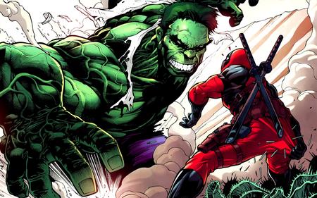 Hulk vs Deadpool - marvel, original, action, heroes, hulk, comic, cool, gun, deadpool, fight, ninja