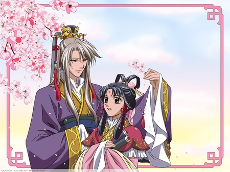 My Emperor - sakura, saiunkoku monogatari, concubine, beautiful, cherry blossom, cute, emperor, anime, love, flower, princess, couple