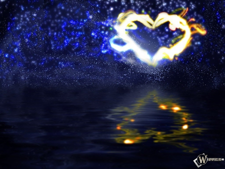 lightning heart  - night sky, water, fireworks, heart