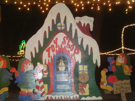 Christmas display - house, toy shop, lights, wooden