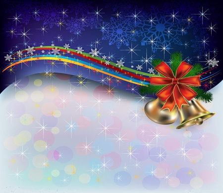Jingle bells - red, stars, ribbon, colors, yellow, beautiful, swirls, rainbow, bow, gold, green, snowflakes, white, bells, joingle bells, blue