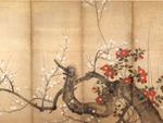 Suzuki Kiitsu - Flowering Plum and Camillia