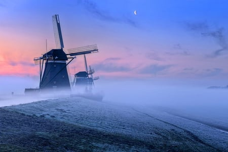 Holland mists - windmills, evening, clouds, mists, blue