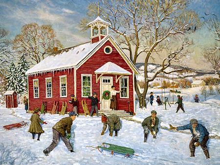 Olde Country School F2 - children, cityscape, recess, school, painting, scenery, snow, winter, sled, art, artwork