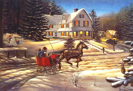 Winter night - red, art, house, paint, beautiful, horse, carriage, winter, snow