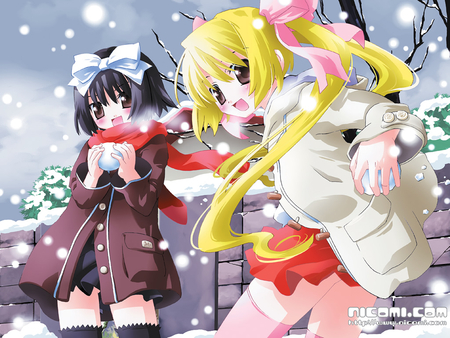 Let's Have a Snowball Fight! - snowball fight, anime girls, smiling, brown eyes, winter, yellow hair, snowball, snowing, snow, anime, scarf, cute anime girls, black hair