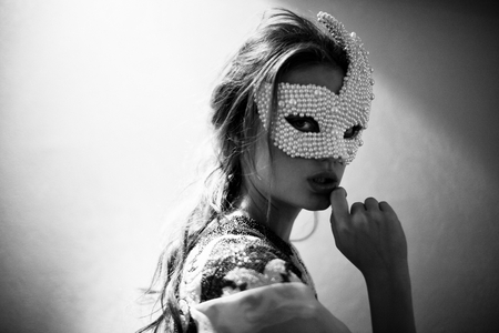 MASQUERADE - beauty, blonde, woman, photography, bw, mask, portrait, hidden