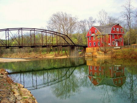 War Eagle Mills, Arkansas - red, house, trees, sky, water, bridge, river, reflection, mills