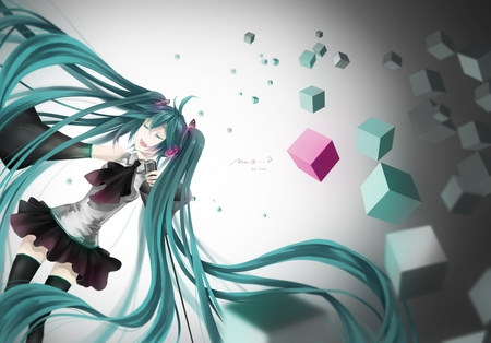 Hatsune Miku - pretty, stunning, cg, thigh highs, nice, anime, aqua, beauty, anime girl, vocaloids, art, twintail, skirt, black, miku, cube, singer, aqua eyes, cute, headset, hatsune, cool, digital, awesome, white, idol, artistic, hatsune miku, headphones, tie, beautiful, thighhighs, program, twin tail, green, pink, blue, vocaloid, outfit, amazing, music, diva, microphone, leggings, song, girl, stockings, uniform, virtual, aqua hair