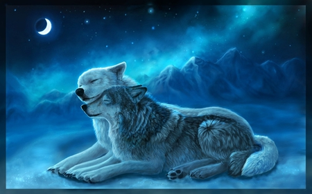 TOGETHERNESS - stars, moon, snow, mountains, wolves, sky, night, winter