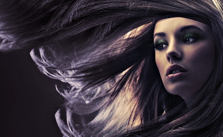 Moving hair - long, wall, background, 3d, black, face, image, picture, pic, woman, wallpaper, hair, girl, digital, beautiful