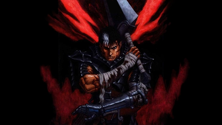 Guts - guts, spiky hair, armor, bandages, weapons, scars, anime, sword, male, black background, armour, blood, black hair, berserk