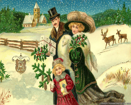 Victorian Christmas Day - painting, victorian, christmas, day