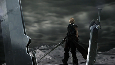 The Final Battle - ff7, ffvii, games, cg, final fantasy 7, video game, game, video games, clouds, gloves, spiky hair, anime, final fantasy, swords, cloud, advent children, final fantasy vii, weapons, cloud strife, fusion sword
