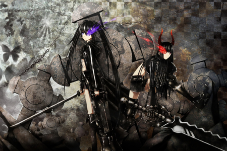 black★Rock Shooter - fighter, boots, two girls, butterfly, checkered board, black gold saw, black rock shooter, thigh boots, saw, hot, anime girl, weapon, sword, chain, female, black coat, twintails, sexy, growing purple, cool, battle, dark, growing red, big gun, cross, growing eye