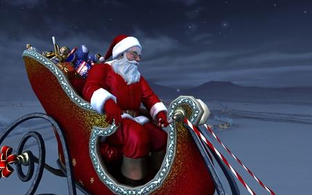 Christmas Eve - snow, christmas, presents, widescreen, santa, 3d