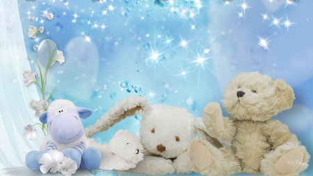 Soft and Fluffy - flowers, firefox persona, blue, curtain, hippo, teddy bear, plush, bunny, soft, toys, rabbit, baby